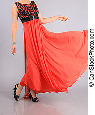 girl in beautiful red dress