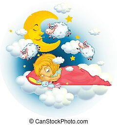 Girl in bed dreaming and counting sheeps