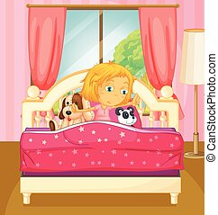 Girl in bed getting up illustration