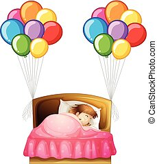 Girl in bed with colorful balloons on sides