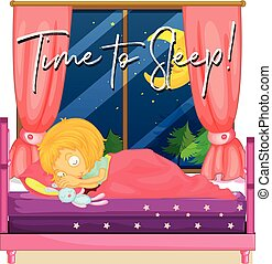 Girl in bed with phrase time to sleep