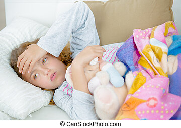 girl in bed with sickness