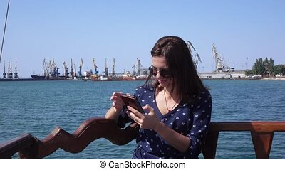 Girl in Berdyansk of seaport