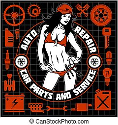 Girl in bikini and car servive icons - label for garage service - monochrome isolated on white