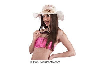 girl in bikini isolated on white background