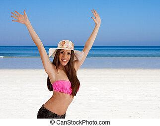 girl in bikini on the beach