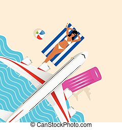 girl in bikini on the beach with airplane illustration