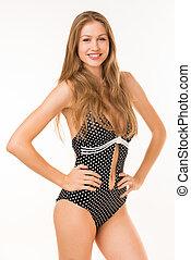 girl in bikini on white background
