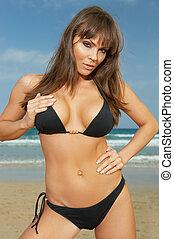 Girl in Black Bikini - 20-25 years woman wearing black...