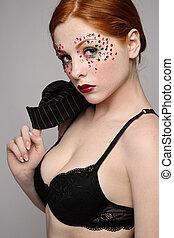 Girl in black bra