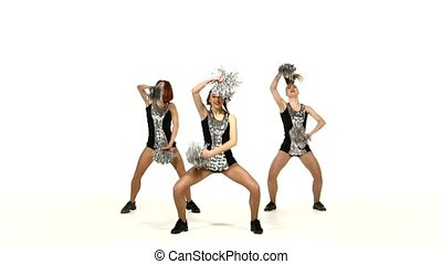 Girl in black costume  with pom-poms dancing on  white background