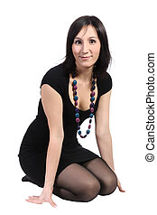 Girl in black dress, isolated