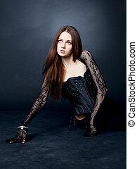 girl in black fishnet stockings at