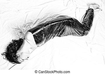 Girl  in black foil