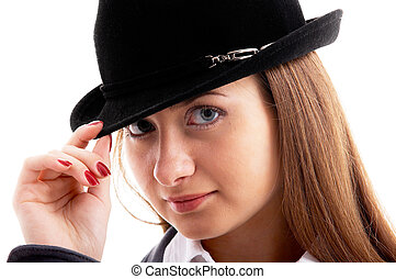 girl in black hat