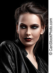 girl in black leather jacket