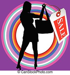 girl in black silhouette with sale tag