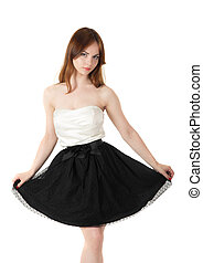 girl in black skirt