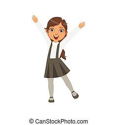 Girl In Black Skirt With Suspenders Happy Schoolkid In...