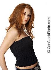 girl in black top