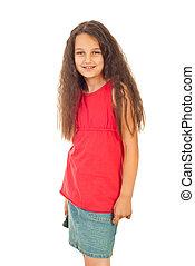 Girl in blank t-shirt and denim skirt