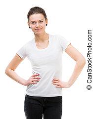 girl in blank white t-shirt