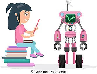 Girl in Blouse Sit on Pile of Books beside Robot