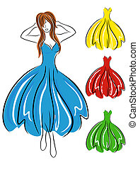Girl in blue dress and set of gowns