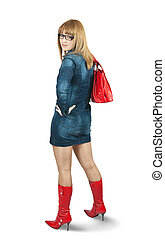 Girl in blue dress ang red high boots