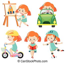 Girl in blue dress doing different actions illustration