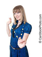 Girl in blue dress