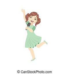 Girl In Blue Dress Singing In Karaoke. Bright Color Cartoon...