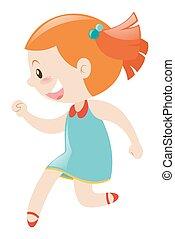 Girl in blue dress smiling