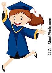Girl in blue graduation