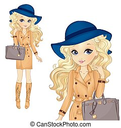 Girl In Blue Hat And Classic Bag