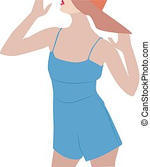 Girl in blue, illustration, vector on white background.