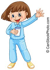 Girl in blue pajamas with glass of milk