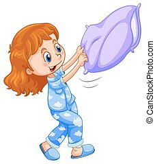 Girl in blue pajamas with purple pillow