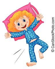 Girl in blue polka dots pajamas
