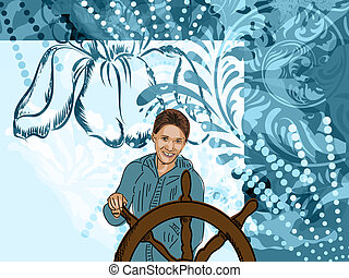 girl in blue with steering control on floral pattern