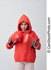 Girl in boxing school