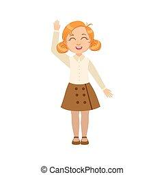 Girl In Brown Skirt And Vest Happy Schoolkid In School...