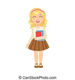 Girl In Brown Skirt Holding Books Happy Schoolkid In School...