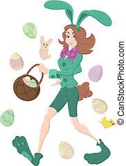 Girl in Bunny Costume Vector