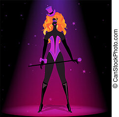 black silhouette of red-haired cabaret girl in purple