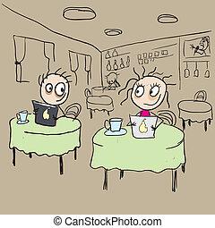 Girl in cafe flirting ogle. Vector cartoon illustration