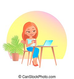 Girl in cafe with a laptop computer