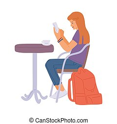 Girl in cafe with cup of coffee or tea and smartphone a flat...