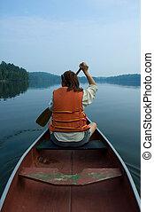 Girl in canoe - canoe