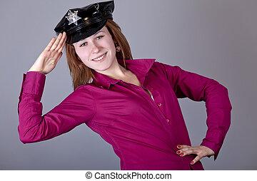 Girl in cap.